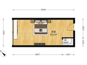财富广场 1室0厅 49㎡ 简装_深圳福田区香蜜湖二手房图片