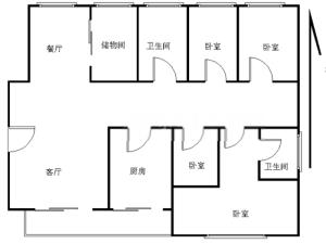 水岸新都一期 4室2厅 162.49㎡ 精装_水岸新都一期二手房户型图片2