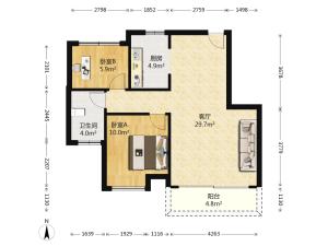 中粮世家 2室2厅 83.44㎡ 毛坯_中粮世家二手房户型图片5
